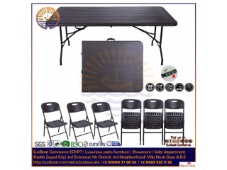 SunBoat furniture | folding dining 7 pieces set | HDPE wood series | Imported