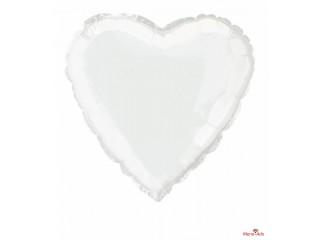 Ballon en aluminium en forme de cœur blanc